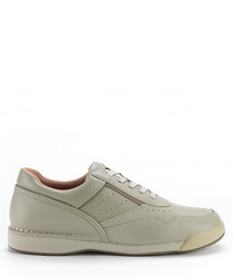 Cream leather lace-up sneakers