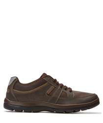 Blucher brown leather lace-up sneakers