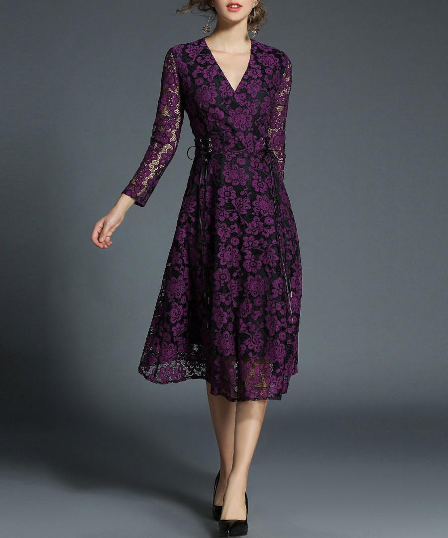 Violet lace wrap midi dress Sale - Kaimilan
