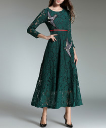 Green lace bird applique midi dress