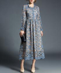 Beige & blue lace midi dress