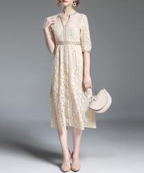 Beige star lace midi dress