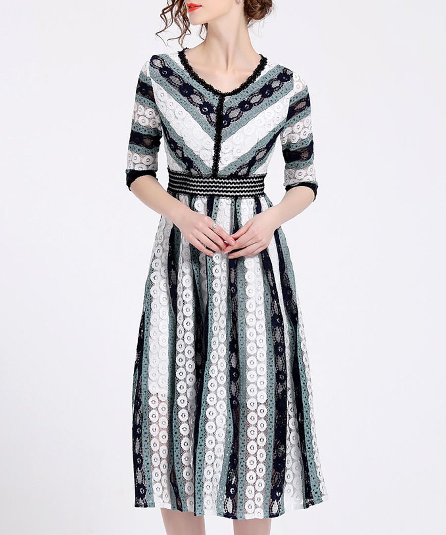 Seafoam lace stripe midi dress Sale - Kaimilan