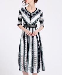 Seafoam lace stripe midi dress