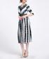 Seafoam lace stripe midi dress Sale - Kaimilan Sale