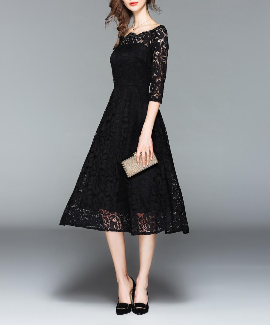 Black lace square neck midi dress Sale - Kaimilan