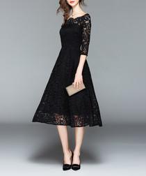 Black lace square neck midi dress