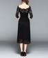 Black lace square neck midi dress Sale - Kaimilan Sale