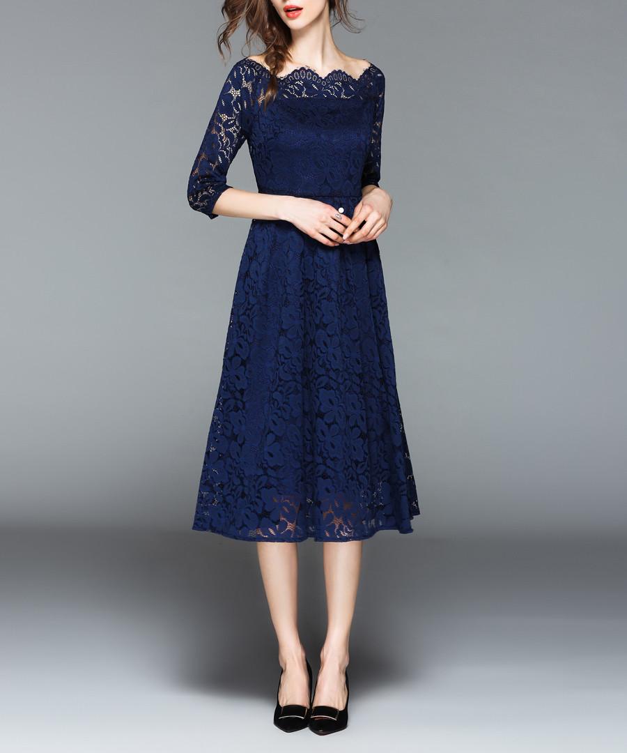 Blue lace square neck midi dress Sale - Kaimilan