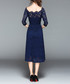 Blue lace square neck midi dress Sale - Kaimilan Sale