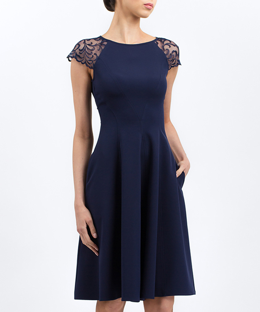 Blue mesh sleeve skater dress Sale - BGL