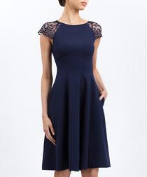 Blue mesh sleeve skater dress