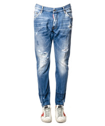 Kenny blue cotton distressed trousers
