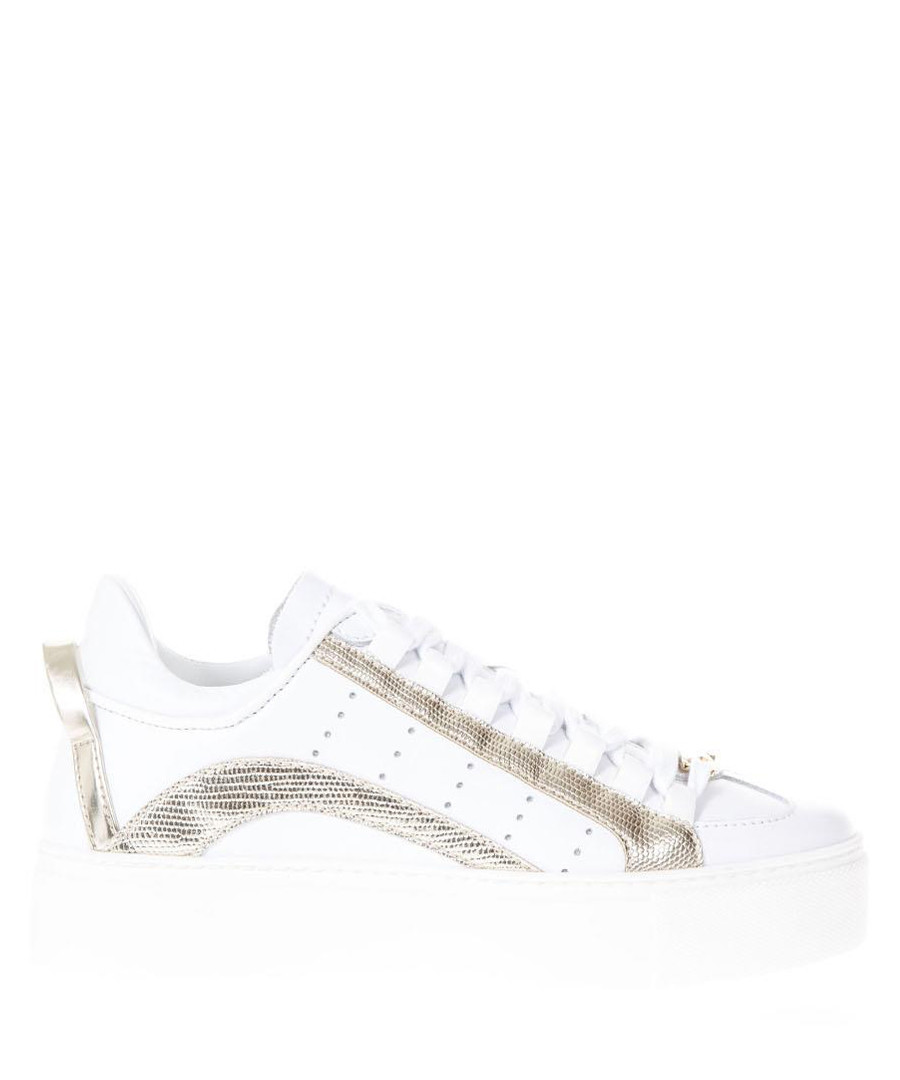 Women's white & gold-tone sneakers Sale - DSQUARED2