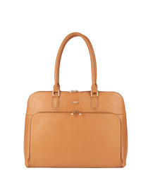 Camel leather front pouch grab bag