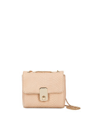 Pink leather moc-croc cross body bag
