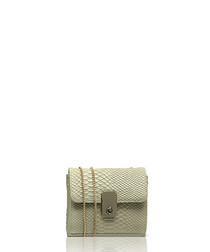 Taupe leather moc-croc cross body bag