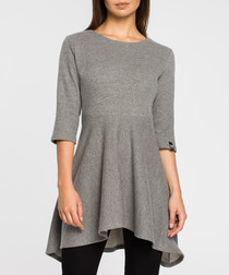 Grey cotton blend flared tunic