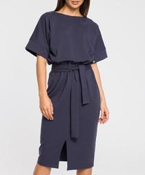 Blue cotton blend tie waist dress