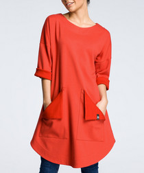 Red cotton blend swing tunic