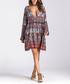 Brown print plunging swing mini dress Sale - CMFS Sale