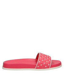 Rose pink leather quilted sliders
