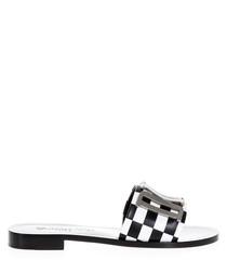 Black & white check leather sliders