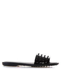 Black leather studded sliders