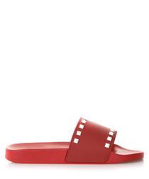 Women's red rubber studded sliders