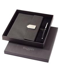 2pc black notepad & pen set