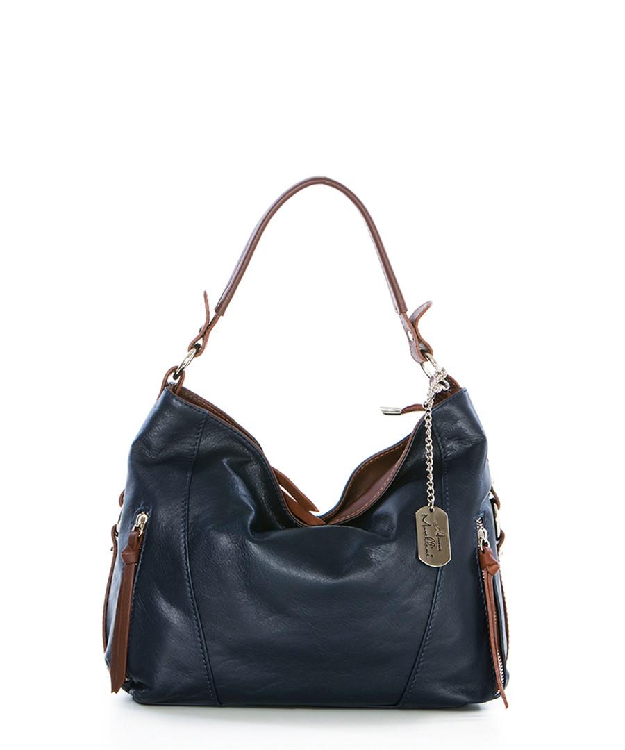 Navy & brown leather shoulder bag Sale - anna morellini