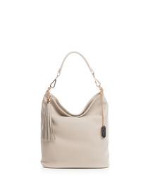 Cappuccino leather tassel shoulder bag