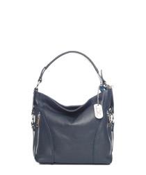 Navy leather slouch shoulder bag