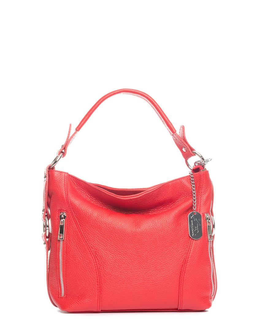 Red leather slouch shoulder bag Sale - anna morellini