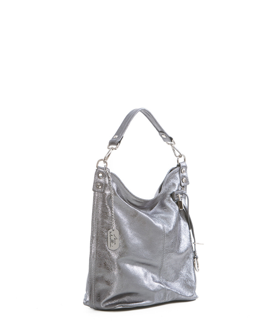 ... Anthracite leather slouch shoulder bag Sale - anna morellini Sale 65ec14dea5