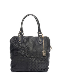 Black leather weave-effect shoulder bag