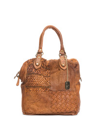 Tan leather weave-effect shoulder bag
