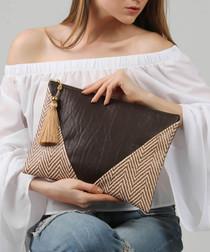 Brown cotton blend zigzag clutch bag