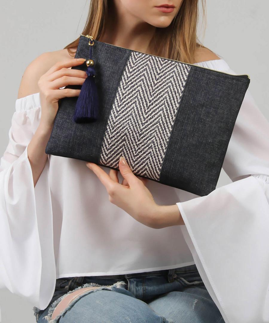Blue cotton blend zigzag clutch bag Sale - Royal Summer