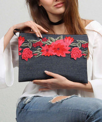 Blue cotton blend embroidered clutch