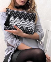 Grey cotton blend zigzag clutch bag