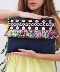 Blue cotton fringed clutch bag