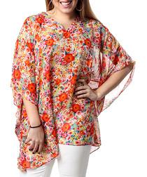 Rebecca red pure silk print blouse