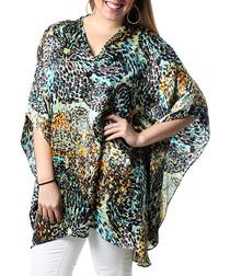 Rebecca black pure silk print blouse