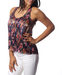 Sonia navy pure silk print blouse