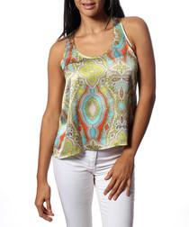 Sonia green pure silk print blouse