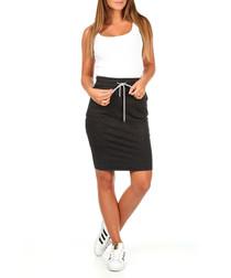 Dark grey cotton blend skirt