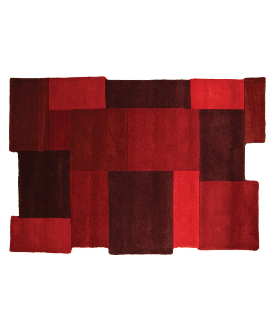 Collage red wool rug 90 x 150cm Sale - flair rugs