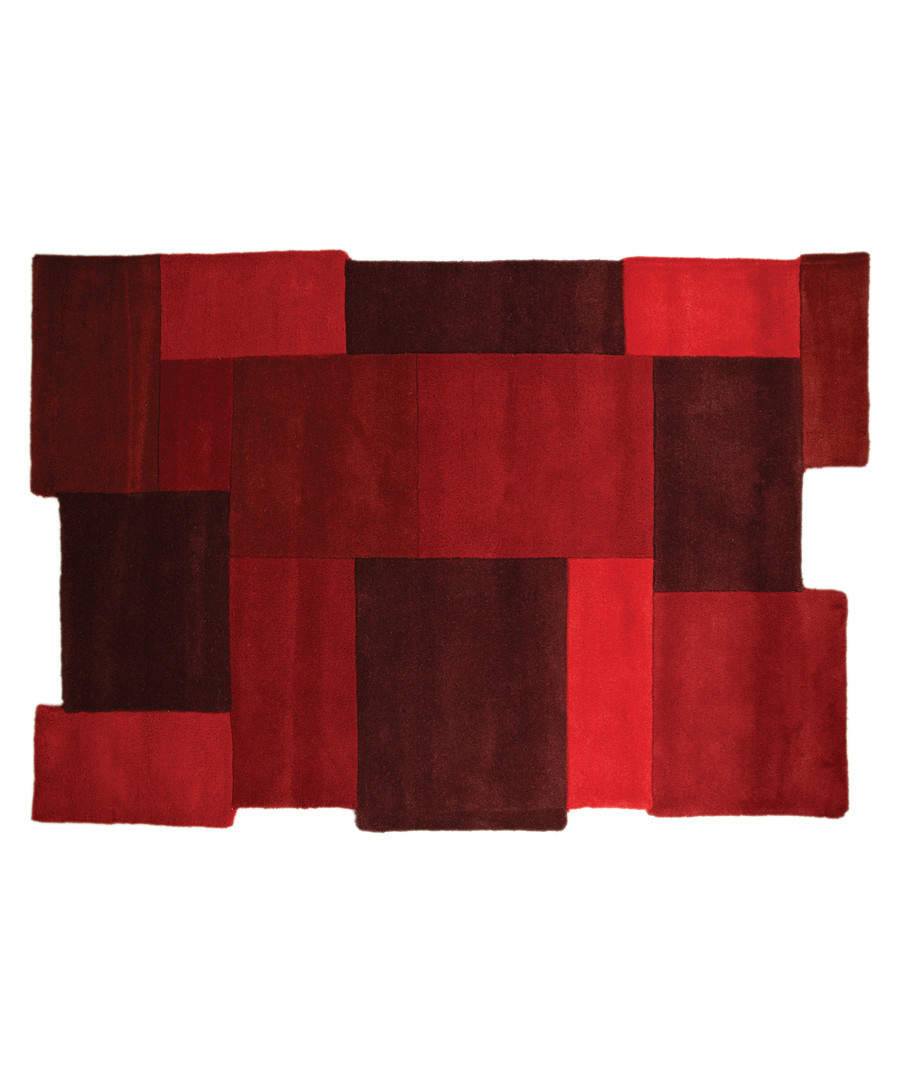 Collage red wool rug 120 x 180cm Sale - flair rugs