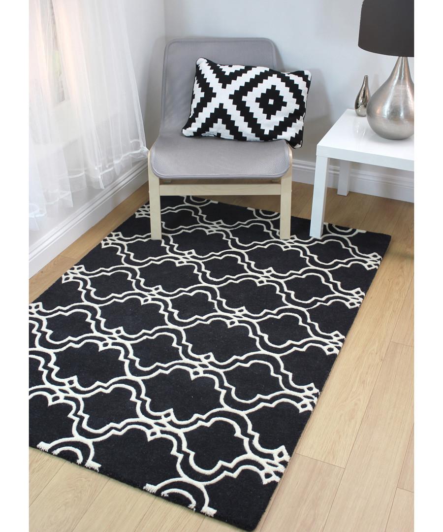 Quatrefoil grey wool rug 200 x 290cm Sale - CASABLANCA